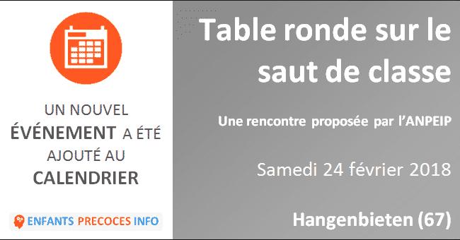 Table ronde sur le saut de classe. Proposée par l'ANPEIP Est, le 24 février2018 à Hangenbieten.